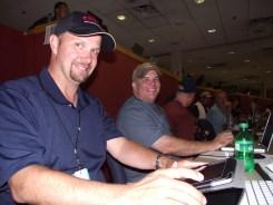 Paul Fiarkoski (me) with Sean Stires in the press box at Rosenblatt Stadium for the 2010 CWS