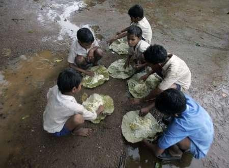 Children forced from their homes have little to eat