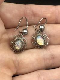 Vintage Opal Cabochon Sterling Silver Dangle Earrings ...