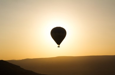Hot ballon at sunet, Cappadocia, Turkey
