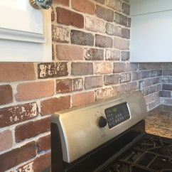 Brick Backsplash In Kitchen Memory Foam Mat Do It Yourself Veneer Remington Avenue