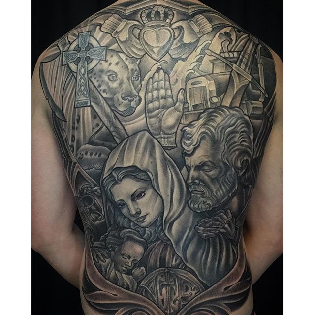 Black and Grey Back Piece Tattoo  Remington Tattoo Parlor