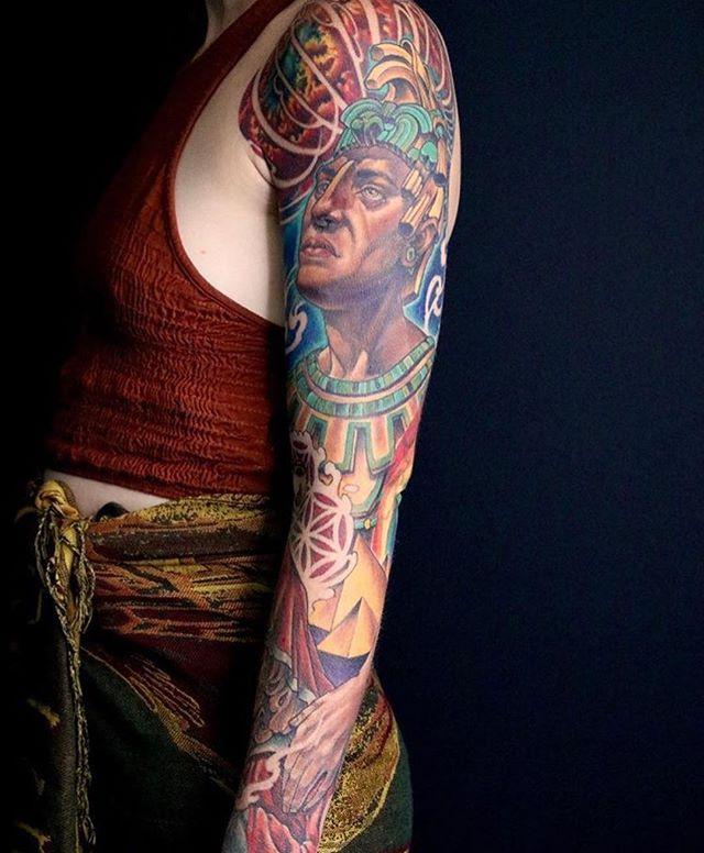 Aztec Sleeve : aztec, sleeve, Aztec, Sleeve, Nathaniel, Remington, Tattoo, Parlor