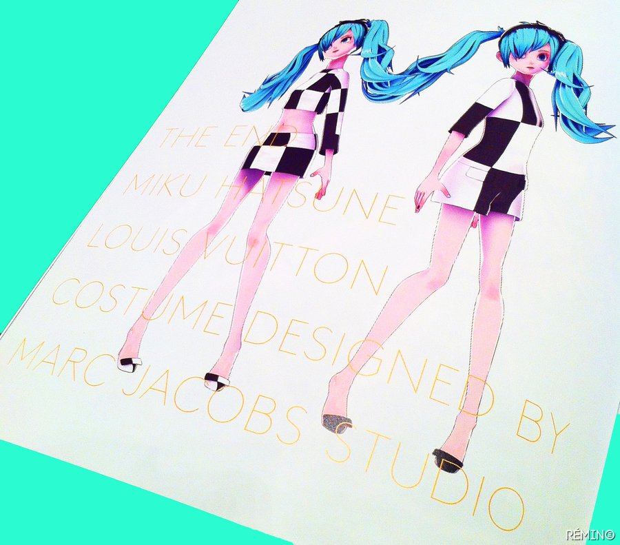 Miku wears an outfit designed by Louis Vuitton.