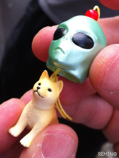 A gachapon prize: a miniature dog wearing an alien mask.