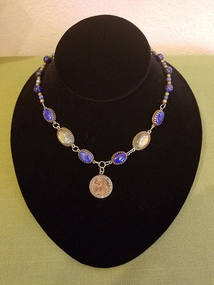Victorian farthing with lapis lazuli and labradorite cabochons