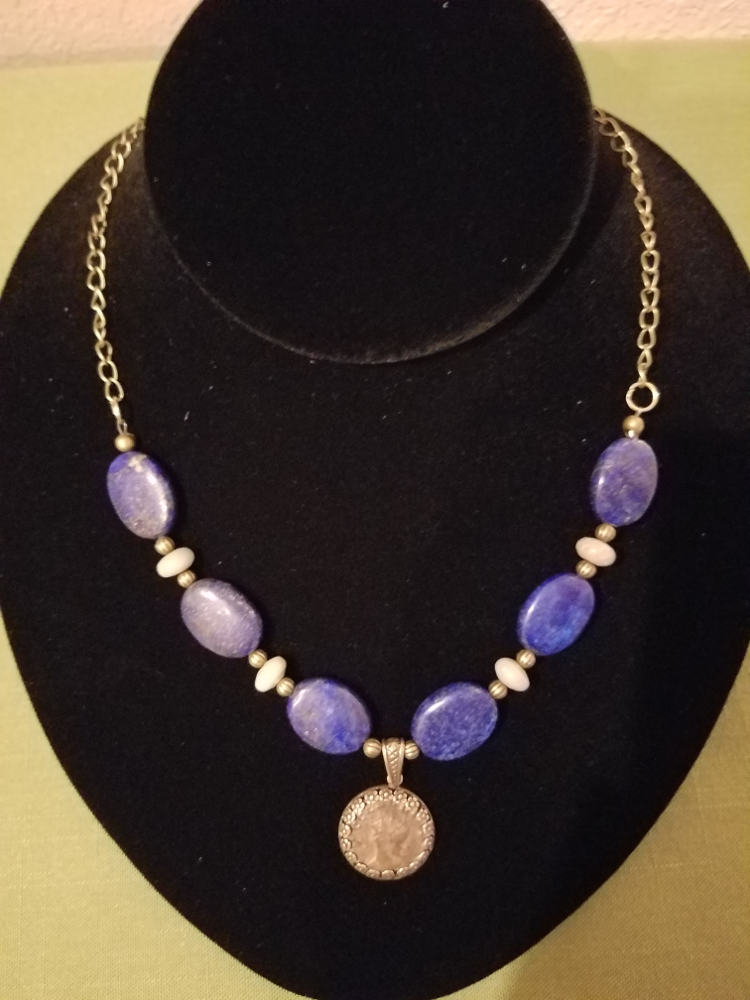 Roman coin with lapis lazuli beads necklace