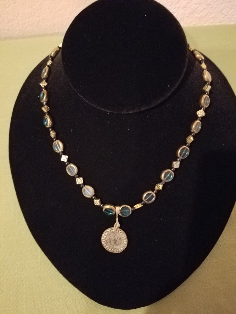 Roman coin with teal glass beads necklace