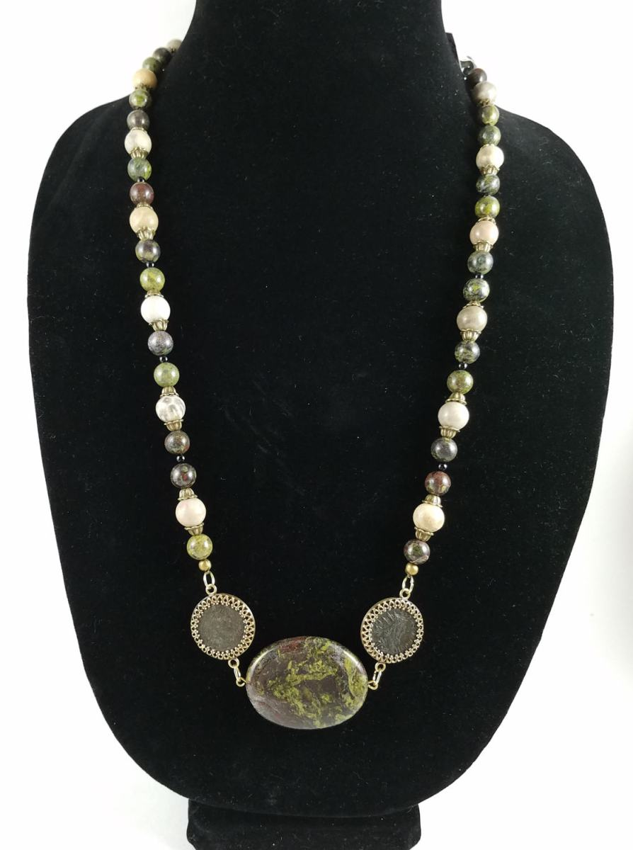 Necklace with dragon blood jasper and Roman coins
