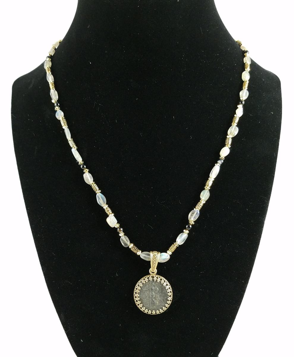 Roman coin of nero necklace with clear labradorite and brass beads
