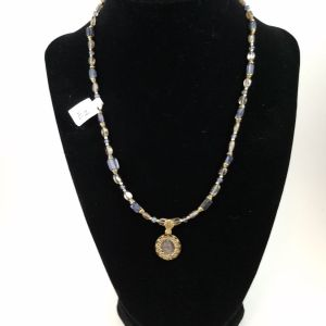 Necklace with elizabeth I of England coin and iolite