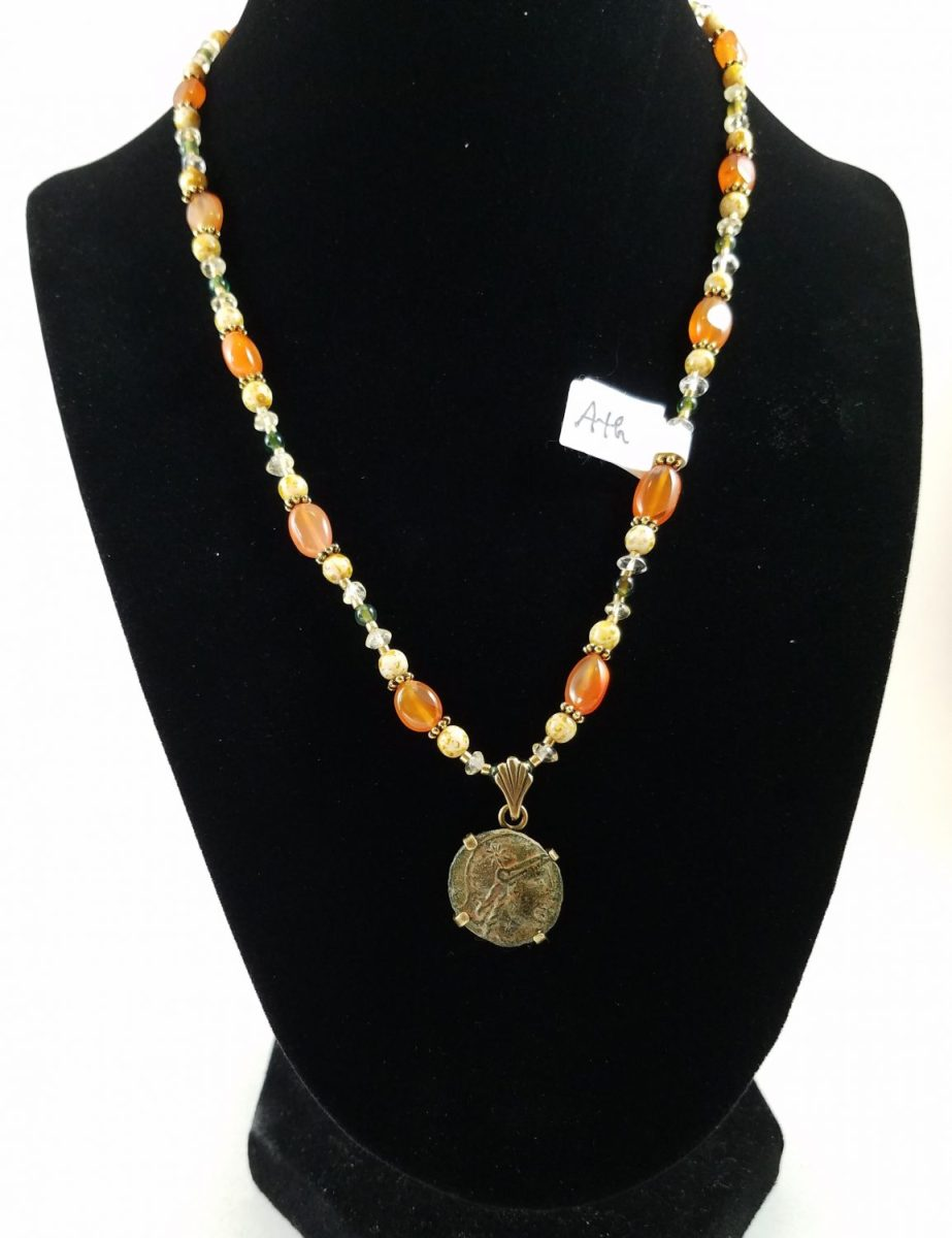 Necklace with Hellenistic coin of Athena