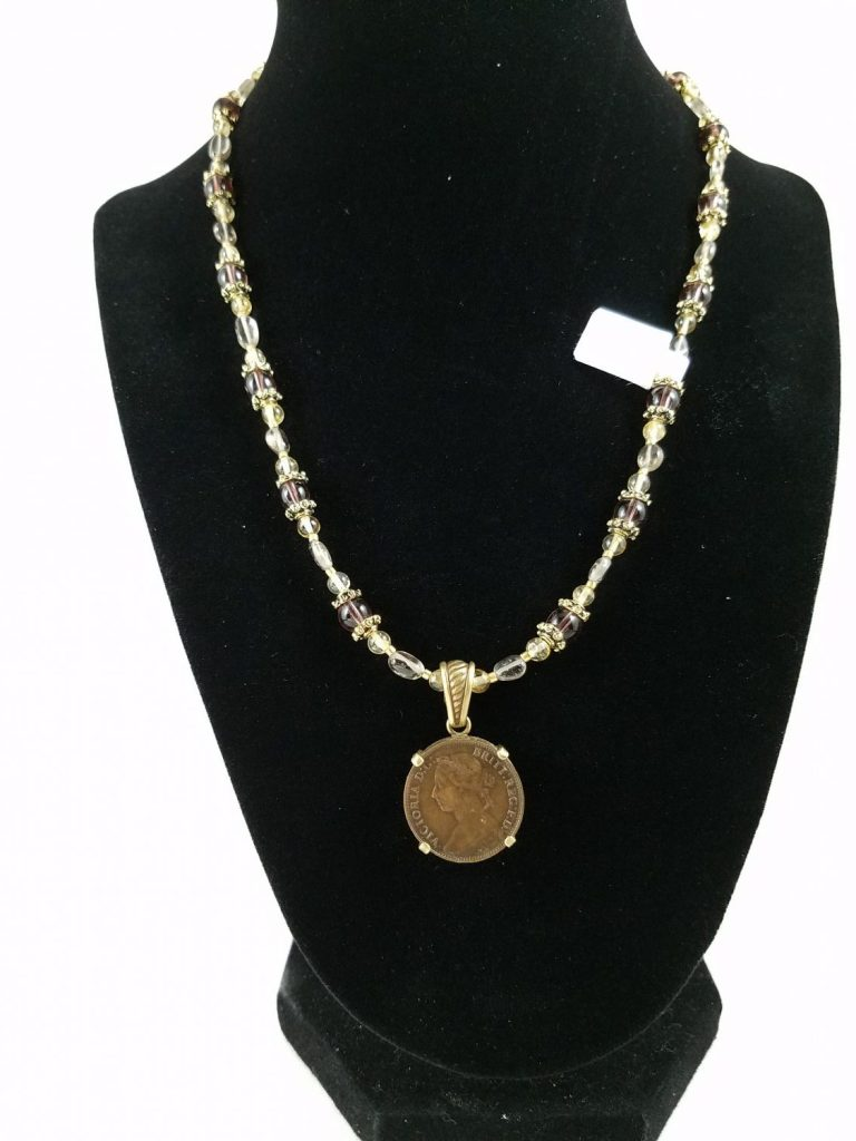 Necklace with Victorian coin with purple glass and citrine