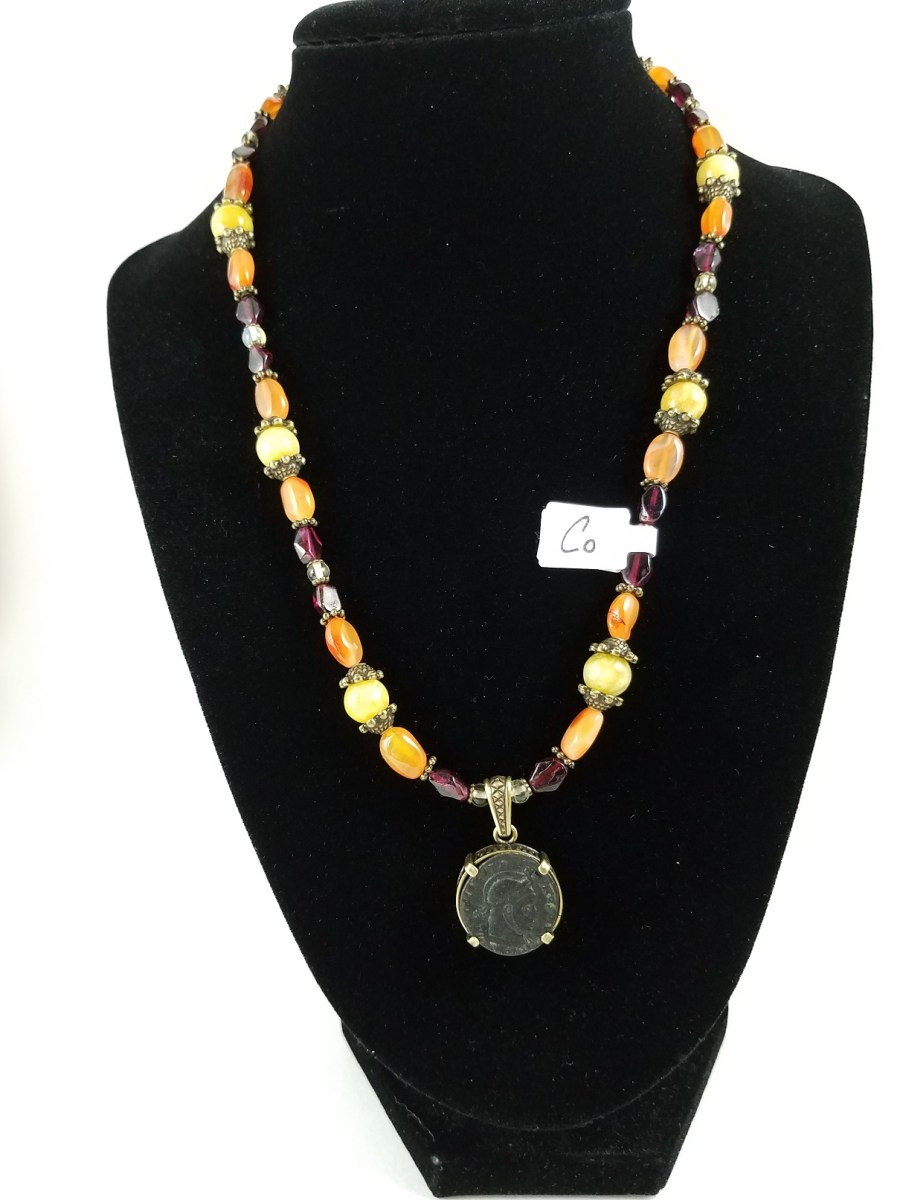 Necklace with Roman coin of Constantine with bright yellows, oranges and reds