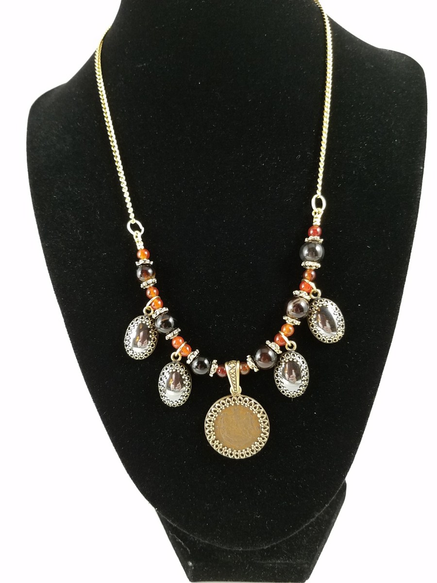 Necklace with hemalyke and 19th century Romanian coin