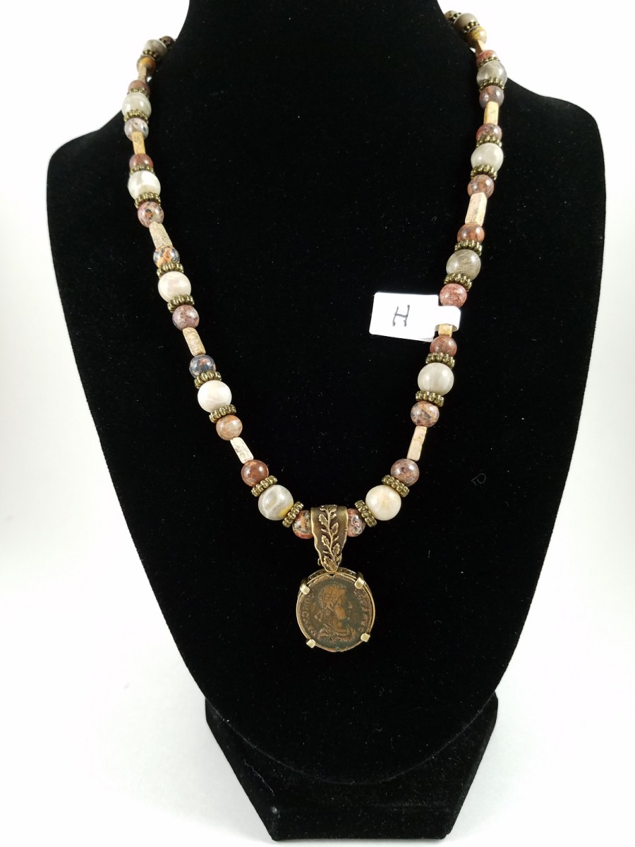 Necklace with Roman coin and Brown Beads