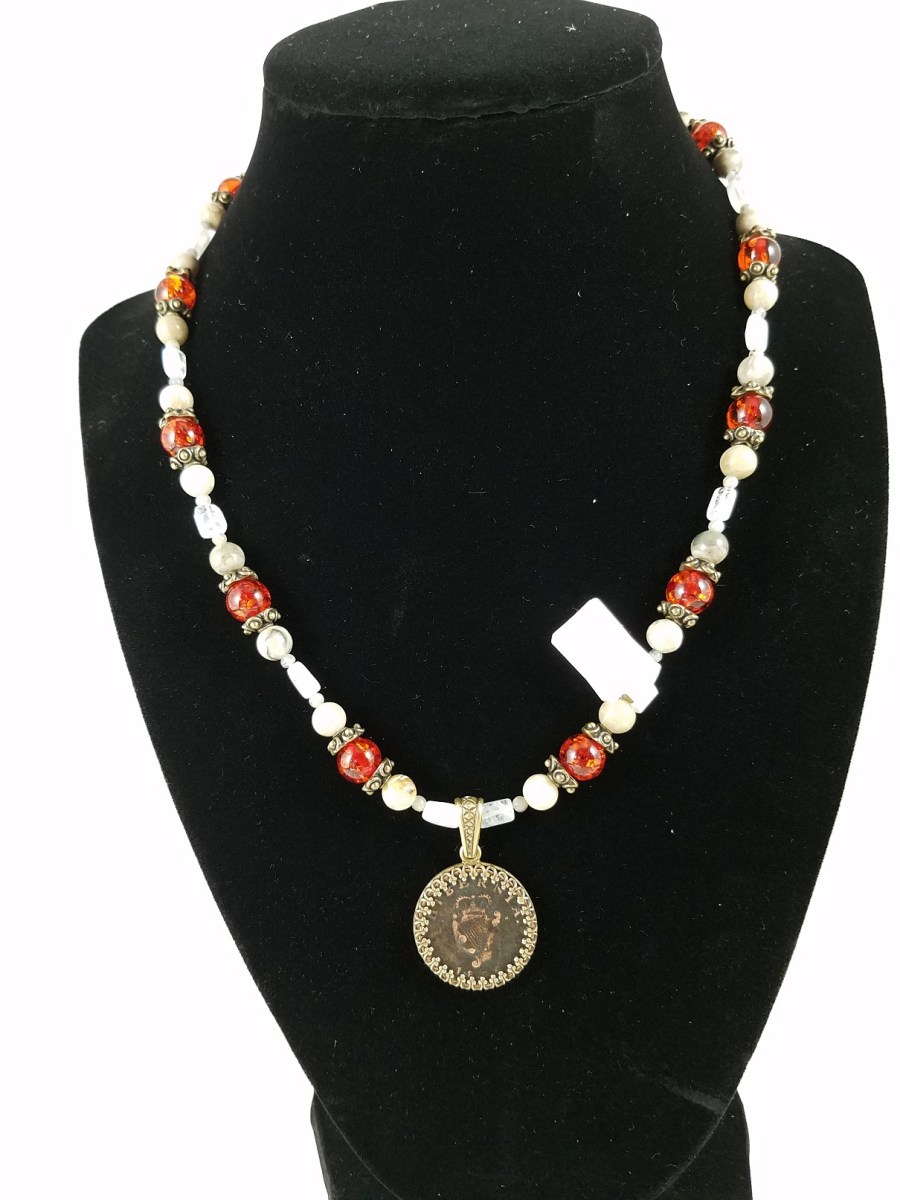 necklace with 19th Century Irish Farthing and red and white beads