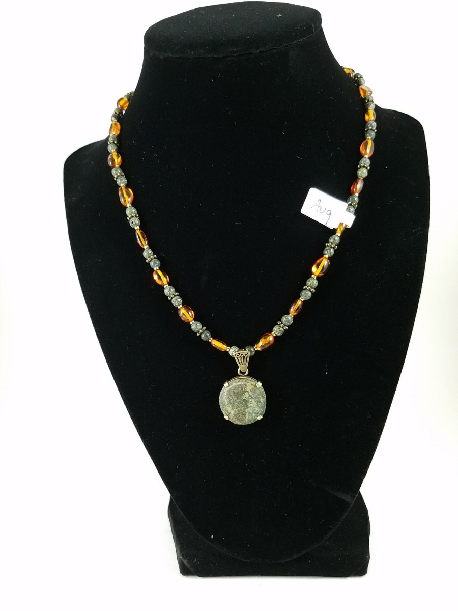 Necklace with Augustus, First Emperor of Rome and Amber