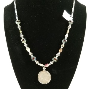 Buffalo american nickel necklace with red glass and tourmaline