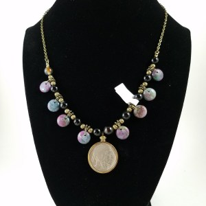 Necklace with American Buffalo nickel nd mutli-colored beads