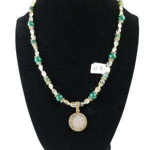 Necklace with medieval coin, green malachite and clear citrine