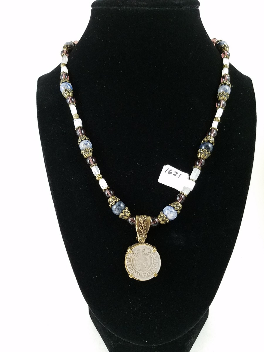 Necklace with Polish coin and purple and blue beads