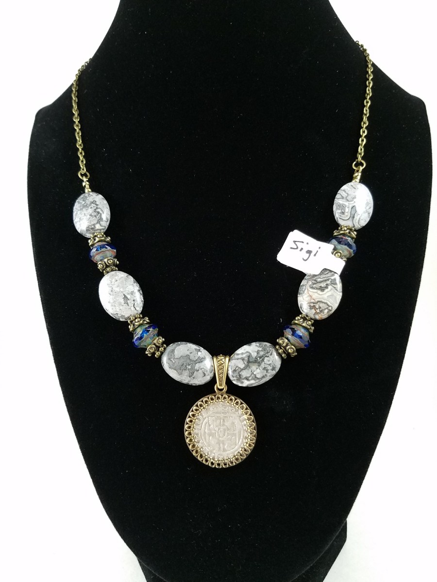 necklace with Polish coin and gray and blue beads