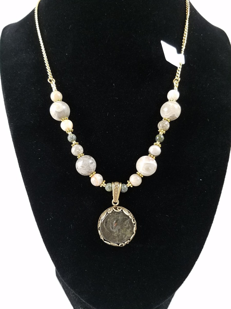 Necklace with hellenistic coin of Athena and white an green beads