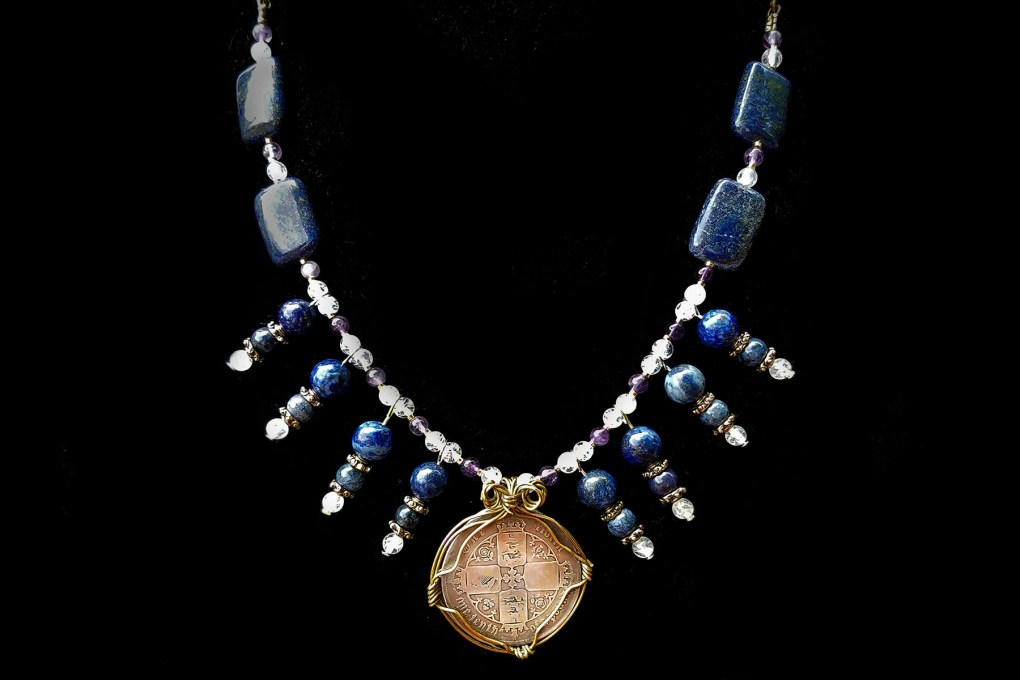 Coin jewelry with victorian florin and lapis lazuli