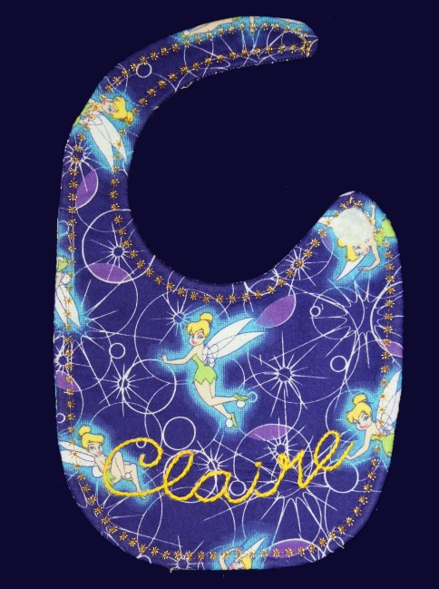 Tinkerbell bib, hand embroidered