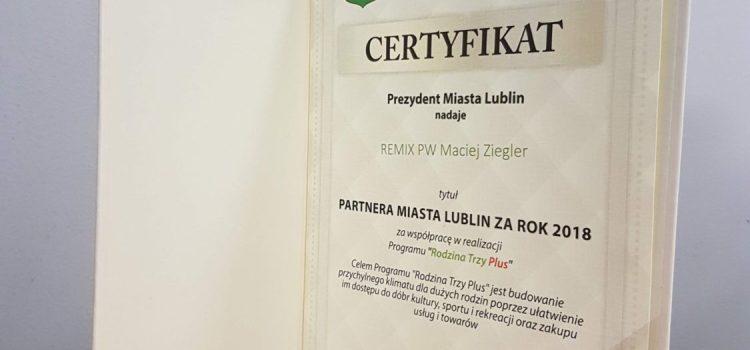 Certyfikat - Partner Miasta Lublin