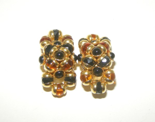 80s cluster clip gold earrings - Remix Vintage Fashion