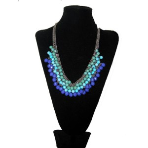 Blue bib necklace-the remix vintage fashion