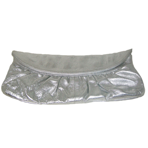 silver leather clutch beth springer-the remix vintage fashion
