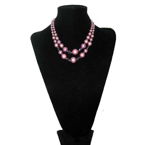 pink crystal bead multi strand necklace-the remix vintage fashion