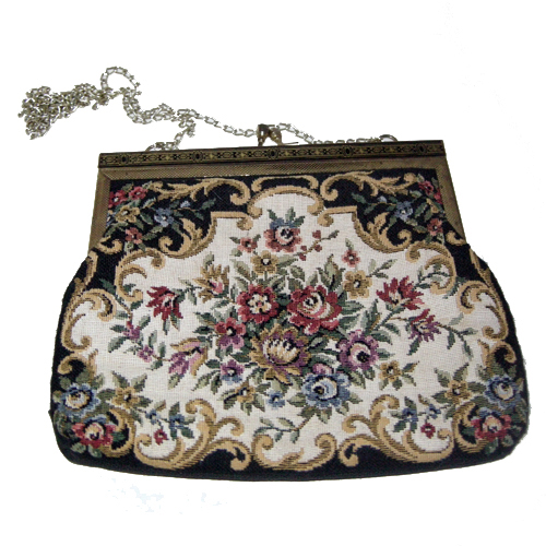 tapestry purse gold enamel clasp chain art deco-the remix vintage fashion