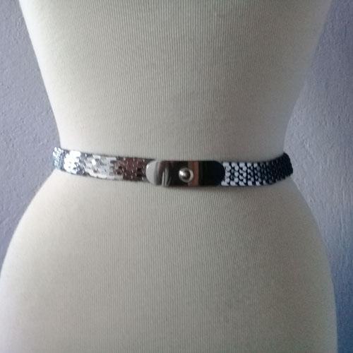 80s silver stretch snake belt-the remix vintage fashion