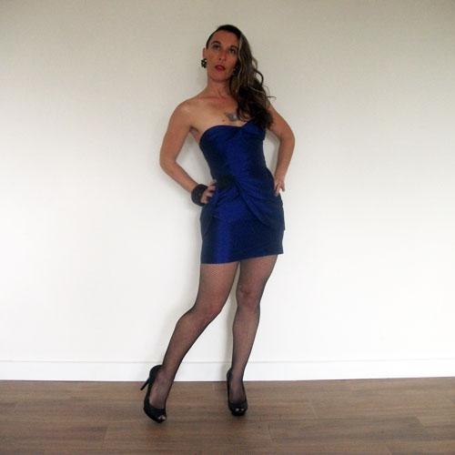 bebe strapless dress mini wiggle blue satin-the remix vintage fashion