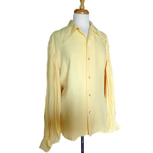 70s fashion blouse fay boileaus yellow elizabethan sleeve-the remix vintage fashion