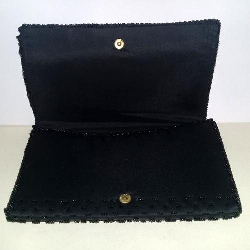 La Regale clutch purse handbag black beaded-the remix vintage fashion