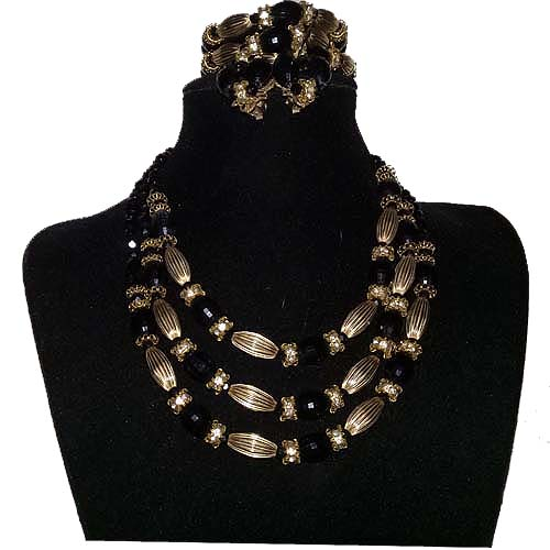 50s jewelry set duboff jet tri strand necklace bracelet clip earrings-the remix vintage fashion