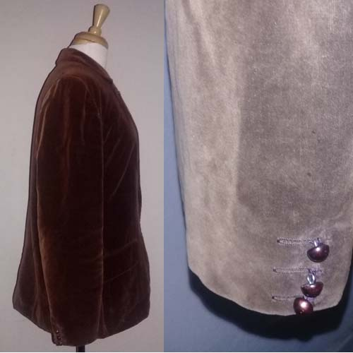 70s velvet blazer jacket brown cotton butterfly label-the remix vintage fashion