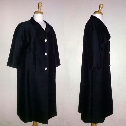 60s black evening coat rhinestone buttons Robert Knox New York-the remix vintage fashion