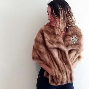 mink fur stole large collar pockets autumn haze 50s classic-the remix vintage fashion