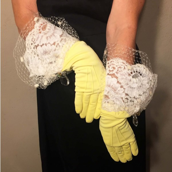 formal day gloves yellow netting crystal-the remix vintage fashion
