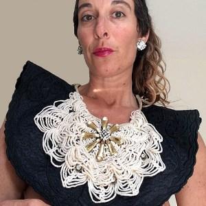 beaded bib collar spider crochet front gold rhinestone accents-the remix vintage fashion