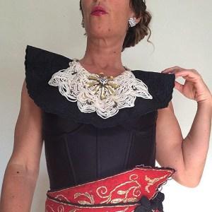 black satin bib collar-the remix vintage fashion