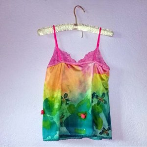 pink cami top green yellow orange-the remix vintage fashion