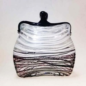 murano art glass purse vase black white swirl clear-the remix vintage fashion