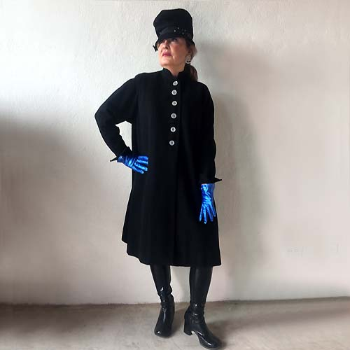 70s black wool coat Laurie of California-the remix vintage fashion